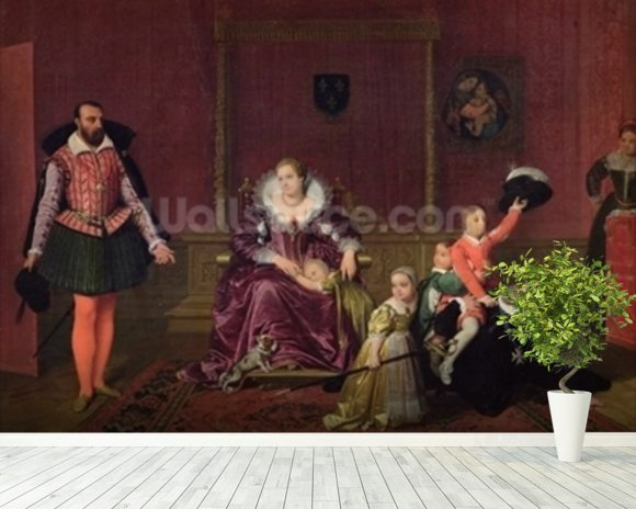 Henri IV (1553-1610) King of France and Navarre Playing with his Children as the Ambassador of Spain Makes his Entrance, 1817 (oil on canvas) wallpaper mural room setting