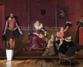 Henri IV (1553-1610) King of France and Navarre Playing with his Children as the Ambassador of Spain Makes his Entrance, 1817 (oil on canvas) wallpaper mural kitchen preview
