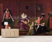 Henri IV (1553-1610) King of France and Navarre Playing with his Children as the Ambassador of Spain Makes his Entrance, 1817 (oil on canvas) wallpaper mural living room preview