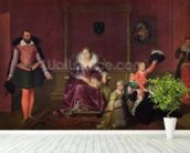 Henri IV (1553-1610) King of France and Navarre Playing with his Children as the Ambassador of Spain Makes his Entrance, 1817 (oil on canvas) wallpaper mural in-room view