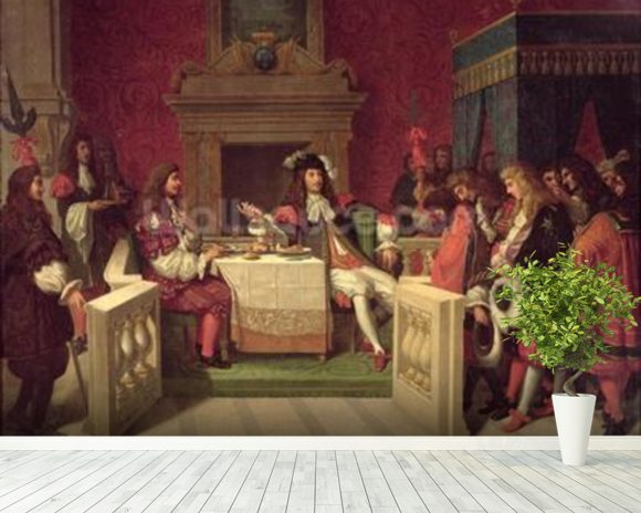 Moliere (1622-73) Dining with Louis XIV (1638-1715) 1857 (oil on canvas) mural wallpaper room setting