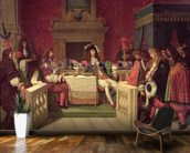 Moliere (1622-73) Dining with Louis XIV (1638-1715) 1857 (oil on canvas) mural wallpaper kitchen preview