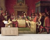 Moliere (1622-73) Dining with Louis XIV (1638-1715) 1857 (oil on canvas) mural wallpaper living room preview