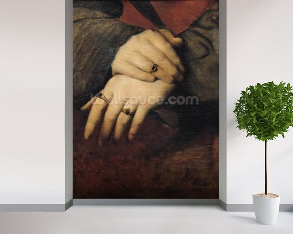Study of a Womans Hands, after the portrait of Maddalena Doni by Raphael (oil on canvas) wall mural room setting