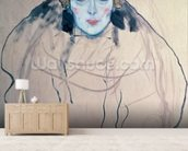 Head of a Woman (pen & ink & w/c on paper) wall mural living room preview