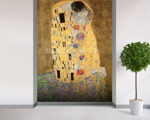 The Kiss, 1907-08 (oil on canvas) wall mural room setting