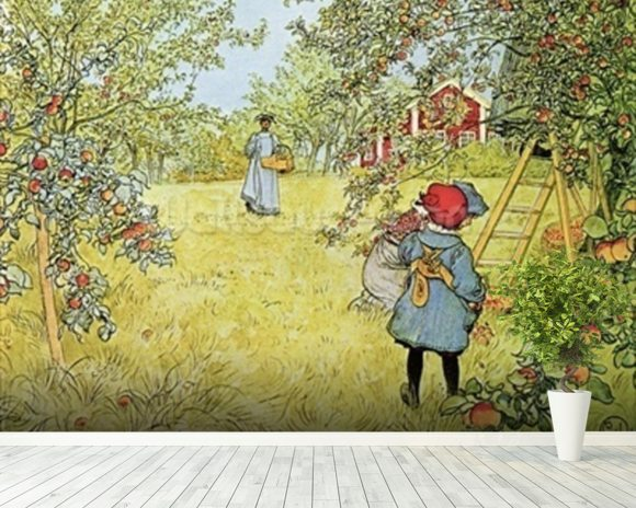 The Apple Harvest mural wallpaper room setting