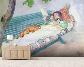 Woman Lying on a Bench Wallpaper Mural Wall Murals Wallpaper