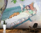 Woman Lying on a Bench, 1913 (w/c on paper) wall mural kitchen preview