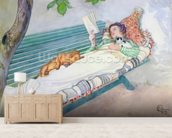 Woman Lying on a Bench, 1913 (w/c on paper) wall mural living room preview