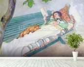 Woman Lying on a Bench, 1913 (w/c on paper) wall mural in-room view
