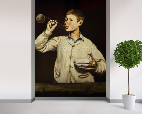 Boy Blowing Bubbles, 1867-69 (oil on canvas) wallpaper mural room setting
