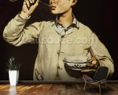 Boy Blowing Bubbles, 1867-69 (oil on canvas) wallpaper mural kitchen preview