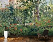 The Garden at Bellevue, 1880 (oil on canvas) wallpaper mural kitchen preview