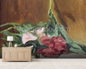 Stem of Peonies and Secateurs, c.1864 (oil on canvas) wallpaper mural living room preview