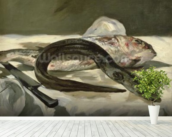 Eel and Red Mullet, 1864 (oil on canvas) wallpaper mural room setting
