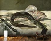 Eel and Red Mullet, 1864 (oil on canvas) wallpaper mural kitchen preview