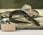 Eel and Red Mullet, 1864 (oil on canvas) wallpaper mural living room preview