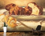 Still life with brioches and lemon, 1873 (oil on canvas) mural wallpaper kitchen preview