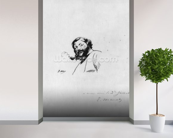 Portrait of Gustave Courbet (pen & ink on paper) (b/w photo) wallpaper mural room setting