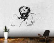 Portrait of Gustave Courbet (pen & ink on paper) (b/w photo) wallpaper mural kitchen preview