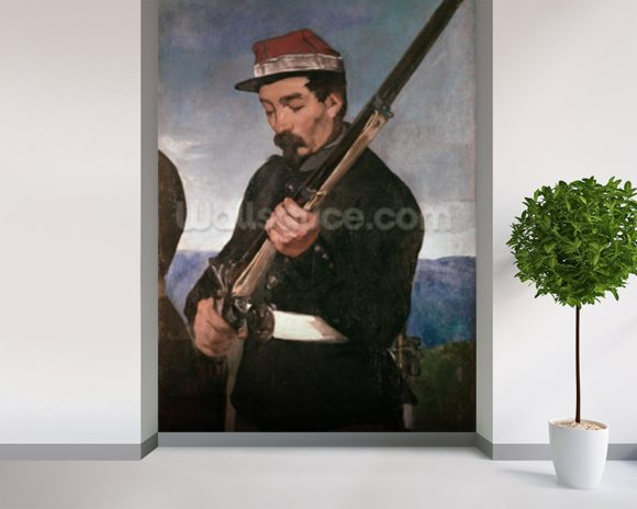 Non Commissoned Officer holding his Rifle (oil on canvas) wallpaper mural room setting