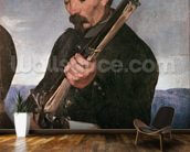 Non Commissoned Officer holding his Rifle (oil on canvas) wallpaper mural kitchen preview