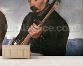 Non Commissoned Officer holding his Rifle (oil on canvas) wallpaper mural living room preview