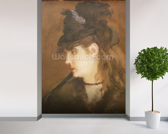 Berthe Morisot in a Black Hat (oil on canvas) wall mural room setting