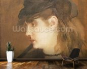 Berthe Morisot in a Black Hat (oil on canvas) wall mural kitchen preview