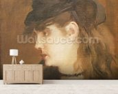 Berthe Morisot in a Black Hat (oil on canvas) wall mural living room preview