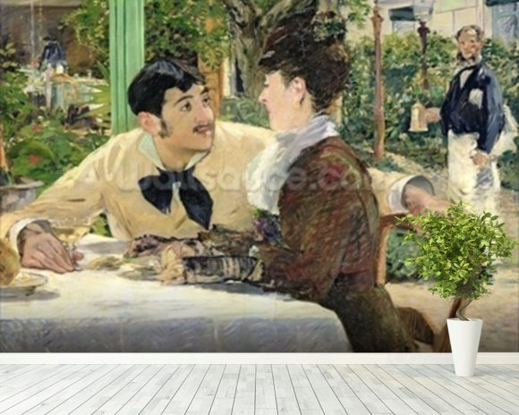 The Garden of Pere Lathuille, 1879 (oil on canvas) mural wallpaper room setting
