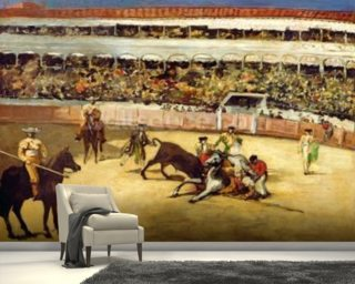 Bull Fight, 1865 (oil on canvas) wallpaper mural