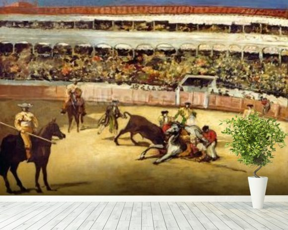 Bull Fight, 1865 (oil on canvas) wallpaper mural room setting