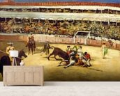 Bull Fight, 1865 (oil on canvas) wallpaper mural living room preview