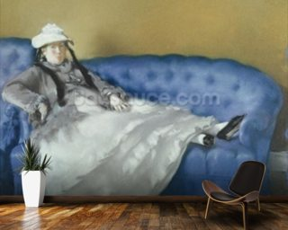 Madame Manet on a Blue Sofa, 1874 (pastel on paper) mural wallpaper