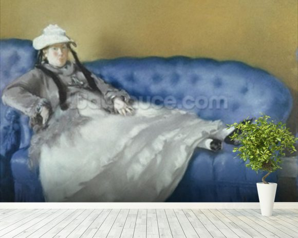 Madame Manet on a Blue Sofa, 1874 (pastel on paper) mural wallpaper room setting