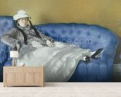 Madame Manet on a Blue Sofa, 1874 (pastel on paper) mural wallpaper living room preview