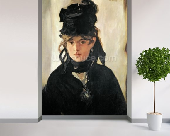 Berthe Morisot with a Bouquet of Violets, 1872 (oil on canvas) wall mural room setting