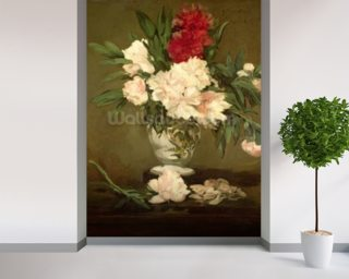 Vase of Peonies on a Small Pedestal Wallpaper Mural Wall Murals Wallpaper