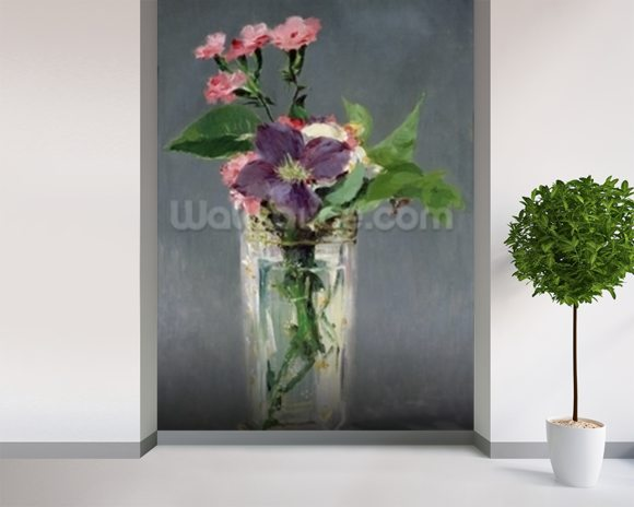 Pinks and Clematis in a Crystal Vase, c.1882 (oil on canvas) mural wallpaper room setting