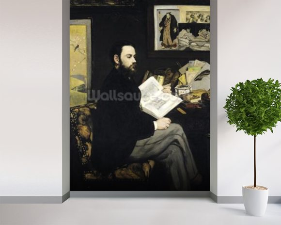 Portrait of Emile Zola (1840-1902) 1868 (oil on canvas) wallpaper mural room setting