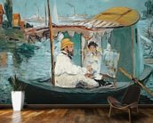 Monet in his Floating Studio, 1874 (oil on canvas) mural wallpaper kitchen preview