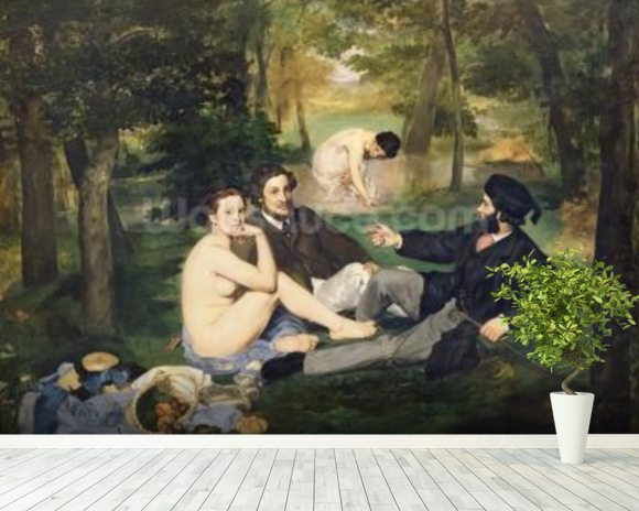 Dejeuner sur lHerbe, 1863 (oil on canvas) (see also 65761) mural wallpaper room setting