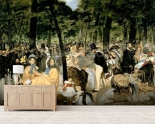 Music in the Tuileries Gardens, 1862 (oil on canvas) Wallpaper Wall Murals