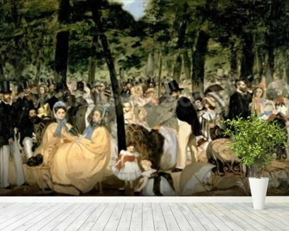 Music in the Tuileries Gardens, 1862 (oil on canvas) wall mural room setting