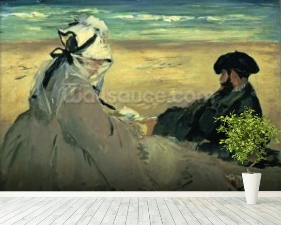 On the Beach, 1873 (oil on canvas) wallpaper mural room setting