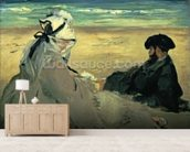 On the Beach, 1873 (oil on canvas) wallpaper mural living room preview