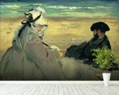 On the Beach, 1873 (oil on canvas) wallpaper mural in-room view