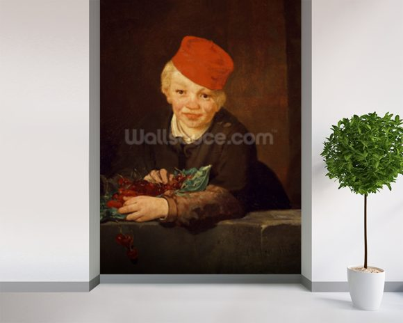 The Boy with the Cherries, 1859 (oil on canvas) wallpaper mural room setting